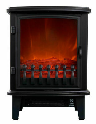 Heller Electric 1800W Fireplace Heater Heating Flame Fire Effect Freestanding
