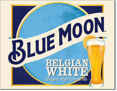 Blue Moon Ales Beer Belgian White Metal Tin Ad Sign Bar Home Wall Decor Gift