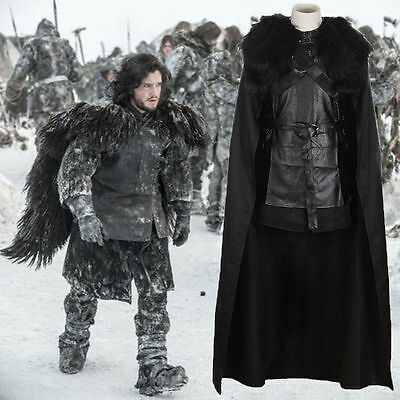 Halloween Game of Thrones Costume Jon Snow Fancy Outfit Coat Cosplay Full Set US