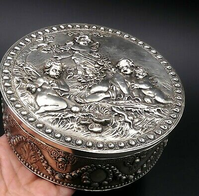 Antique large 800 silver Repousse & fairies/ Cherubs box Germany?