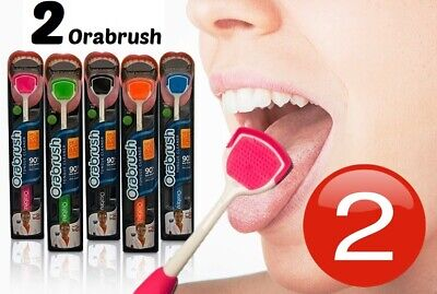 2 Tongue Brush Scraper Two Oral Cleaner Care Dental Clean Cleaning Orabrush