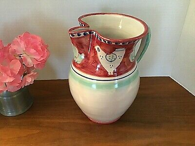 "Solimene Vietri - 9.25"" Pitcher - Chicken Design - Hand Painted - Made In Italy"