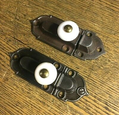 Pair Antique Fancy Victorian Iron and Porcelain Catch Latches, c1885