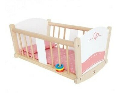 New Hape Toys Dolls White Pink Wooden Rock A Bye Baby Doll Cradle Timber Bedding