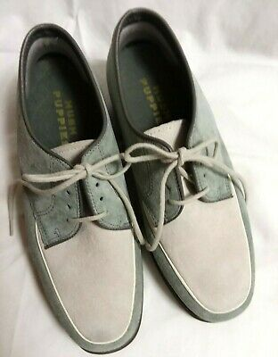 b3910af3ff1 Vintage Women's Hush Puppies Two-Tone Suede Lace Oxford Green/Cream- Size 5