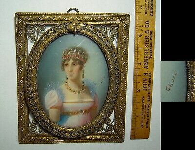 Antique Miniature Painting Plaque Josephine Wife Napoleon By Girard 1852-1935