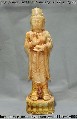 Rare chinese old Topaz jade carved Great compassion Bodhisattva Guanyin statue A