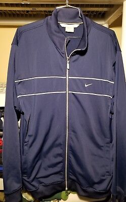253b43879 NIKE Mens Full Zip Warm Up Jacket Coat navy blue white large track jacket