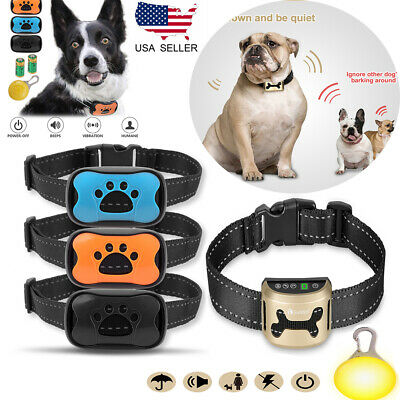 Rechargeable Dog Pet Training Shock Collar Sound Vibration Anti Bark No Barking