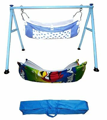 Baby Cradle,Cote,Swing fully folding blue color with two cotton hammocks KR136