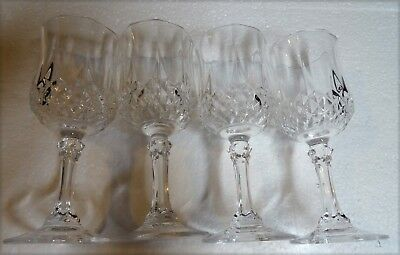 """Wine Glasses Cordial Cristal d'Arques France  4 5/8"""" Tall Set of 4"""