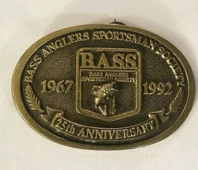 Vintage Bass Anglers Sportsman Society 25th Anniversary Bronze Belt Buckle