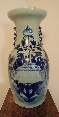 "Chinese Antique Vase 19th Century Celadon & Cobalt blue H.16 ""."
