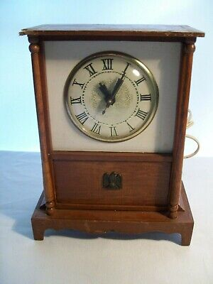Vintage Lanshire Electric Clock Wooden Table Top Chest w/ Drawer& Brass Eagle