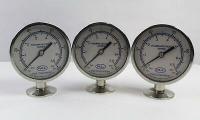 """Pall Corporation 3.5"""" Pharmaceutical Pressure Gauge 0-100 PSI (Lot of 3)"""