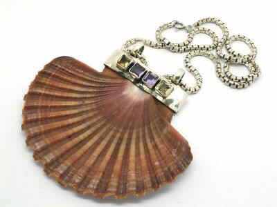 Vintage 925 Sterling Silver seashell clam necklace