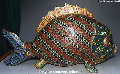 "17"" Chinese Purple Bronze Cloisonne Enamel Fish Fishes Incense Burner Censer"