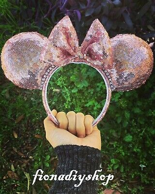light rose gold pink sequin Mickey Mouse Ears multicolor sequin ears