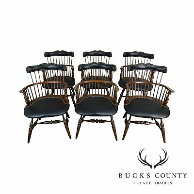 Duckloe Bros Set 6 Cherry & Black Leather Captains Windsor Dining Chairs