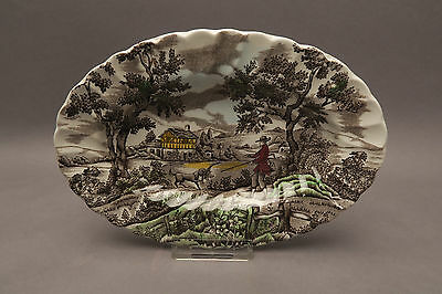 Myott Staffordshire Servier platte THE HUNTER bunt Jagd ca 23 x ca 15,5 cm