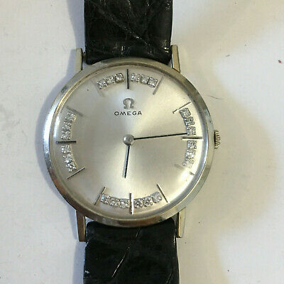 Omega Vintage 14k White Gold & Diamond Dial Markers Mens Watch D6672
