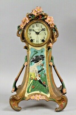 Antique Seth Thomas Art Nouveau Deco Victorian Mantel Erotic Arts Crafts Clock