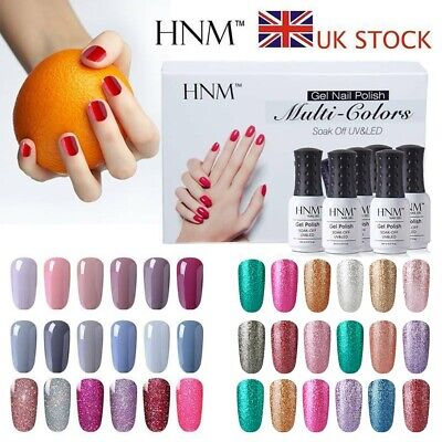 HNM Soak Off  6 Colour Nail Gel Polish Starter Kits Set Top Base Coat Xmas Gift