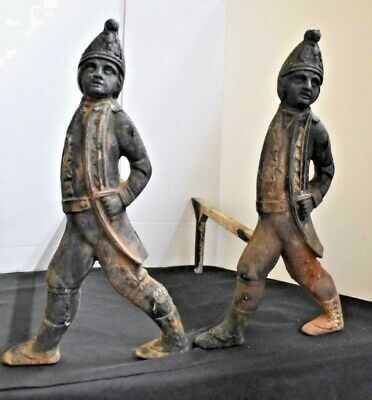Antique American Revolution Hessian Soldiers Cast Iron Fireplace Andirons