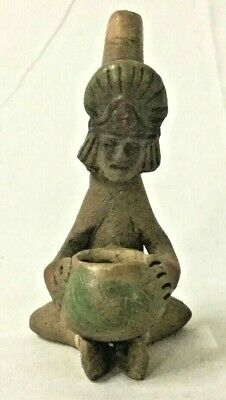 Pre Columbian Indian Clay Pipe Bowl King Effigy Native American