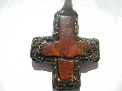 Ancient Bronze  AMBER CROSS