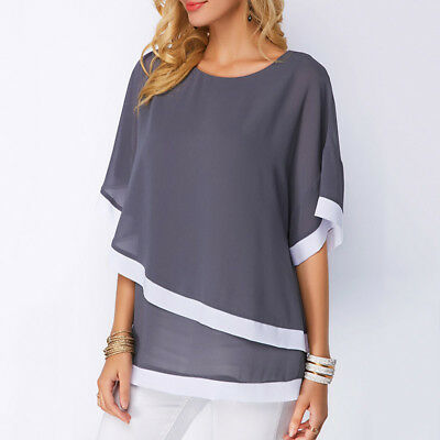 Donna Larga Corta Estate Manica Maglia T Shirt Girocollo Casual 7bgy6Yfv