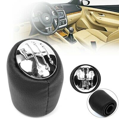 6 Speed Chrome Leather Gear Stick Shift Shifter Knob Cap Lever Cover For Renault