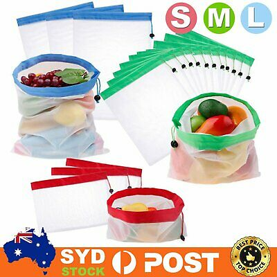 Reusable Mesh Produce Bags Grocery Fruit Vegetable Shopping See-Through Eco