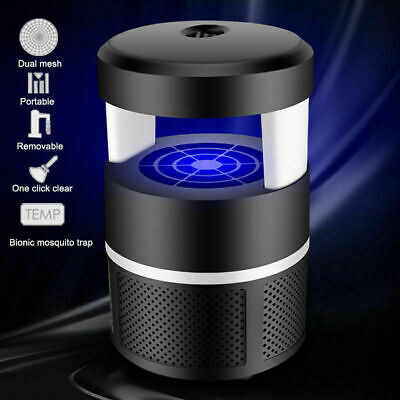 Electric LED Mosquito Killer Lamp USB Inhaler Zapper Mute UV Light Trap (Black)