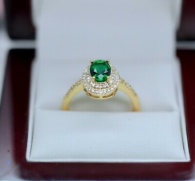 Vintage Jewellery Ring Emerald and White Sapphires Antique Dress Jewelry Size T