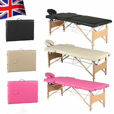 2 Section Wooden Folding Massage Portable Beauty Salon Therapy Couch Bed Chair-