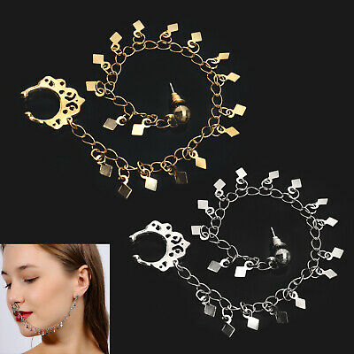 Fashion Alloy Nose To Ear Chain Nose Ring Pierced Earring Chain Beach Party Gift