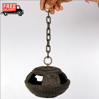 1870'S Antique Engraved Handcrafted Wooden Iron Wall Hanging Oil Diya Lamp 8657