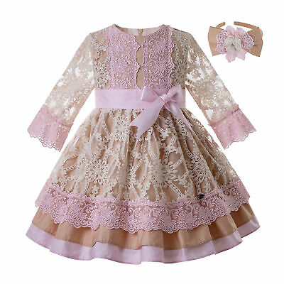 Kids Girls Summer Spanish Dresses Long Sleeve Lace Pageant Casual Outfits 2-10Y