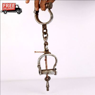 1930'S Old Vintage  Iron Lock Unique Handcrafted Handcuff Lock Collectible 8819