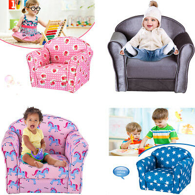 Kids Children Fabric Sofa Chair Velvet Foam Armchair Bedroom Couch Comfy Seating