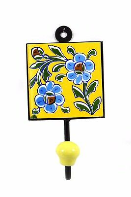 Indian home Decorative Ceramic Tile Fitted Iron Wall Hanging Hook. i75-70 UK