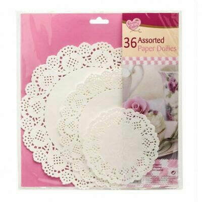 36 X White Round Paper Doilies Lace Assorted Sizes Party Celebrations Birthday