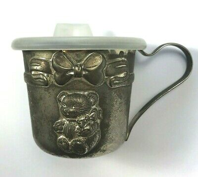 Antique Metal Silver Tone Baby Sippy Cup Bottle With Top Baby Bear Not Marked