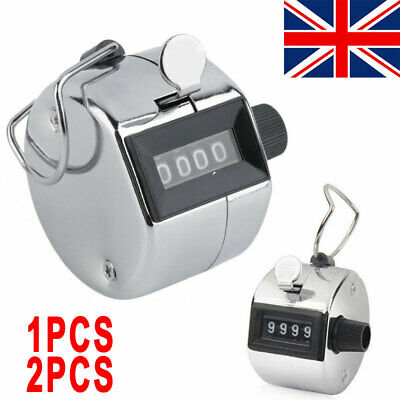 1/2PC X Tally Counter Hand Held Clicker 4 Digit Chrome Palm Golf People Counting
