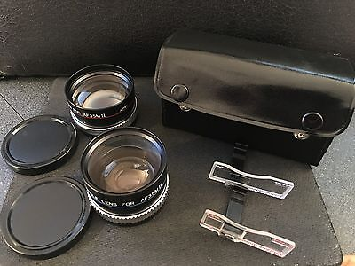 Telephoto/Wideangle auxiliary lens set for CANON SURE SHOT II with case & finder