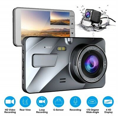 1080P Dual Lens Car DVR Dash Cam Video Recorder Front and Rear Camera 4'' LCD