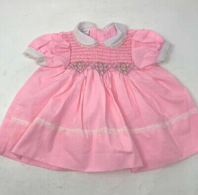 Vintage CRADLE TOGS Infant Baby Dress Smocked Embroidered Pink Party 6-9 months