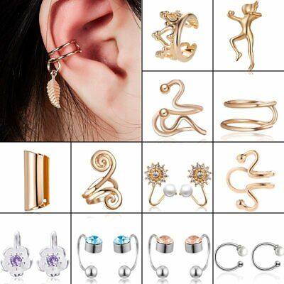 Geometrical Punk Heart Crystal Gold Ear Clip Earrings Stud Party Trendy Unisex