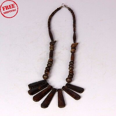 Old Vintage Look Handcrafted  Wooden Thread Necklace Jewelry Collectible 1250
